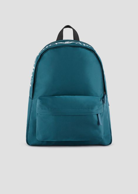 Backpack in nylon tech fabric with maxi-logo on the top