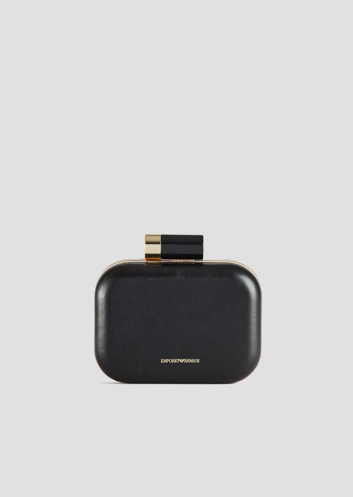 501b732cd4 Clutch bag with laminate leather shoulder strap