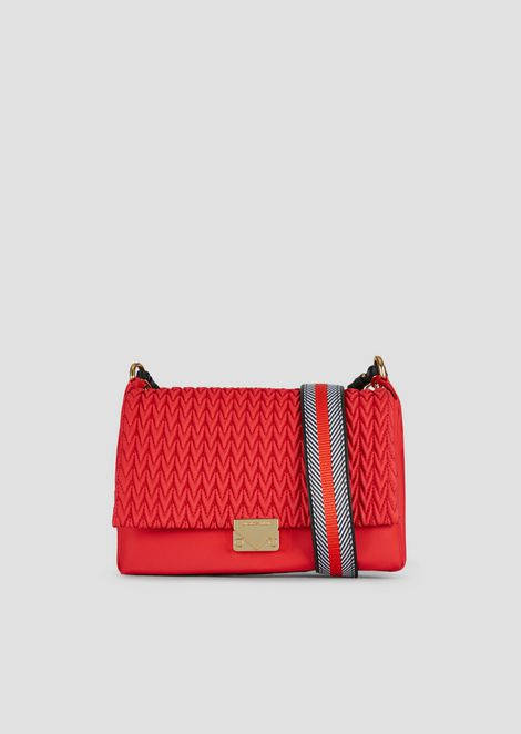 Nylon cross-body bag with quilted drop motif