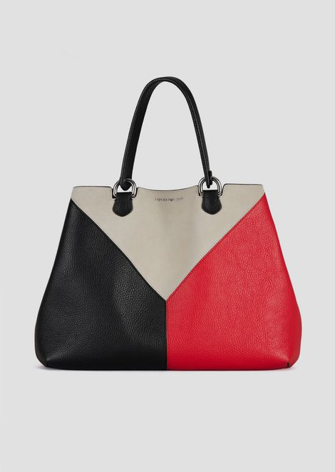 ff4db235bd32 Leather shopping bag with triangular colorblock-motif shoulder strap