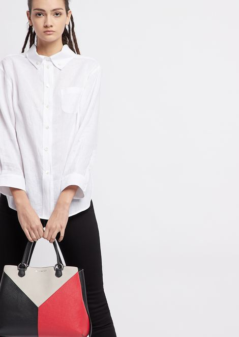 Leather shopper with triangular colourblock-motif shoulder strap