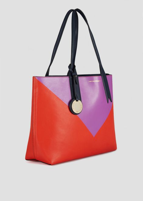 Reversible shopper with triangle print, logoed charm and internal pochette