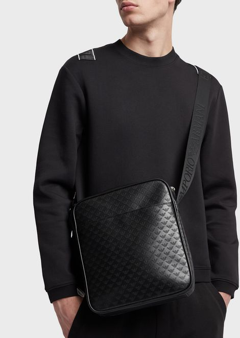 Cross-body bag in leather with logoed all-over print