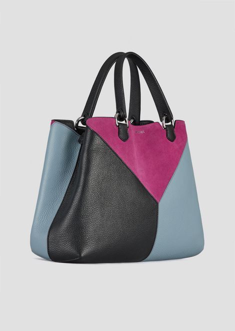 Leather shopping bag with triangular colorblock-motif shoulder strap