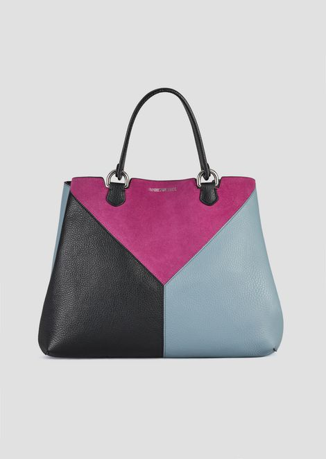 Leather Ping Bag With Triangular Colorblock Motif Shoulder Strap