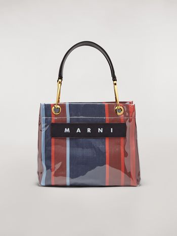 Marni GLOSSY GRIP bag with handles in striped polyamide Woman f