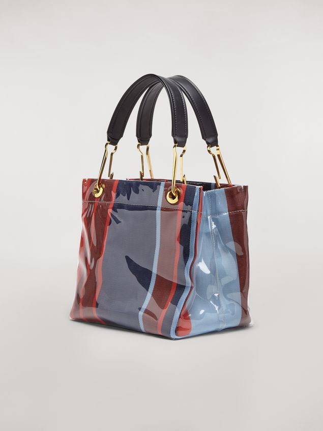 Marni GLOSSY GRIP tote bag in striped polyamide Woman