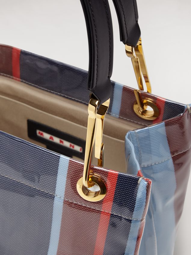 Marni GLOSSY GRIP tote bag in striped polyamide Woman - 4
