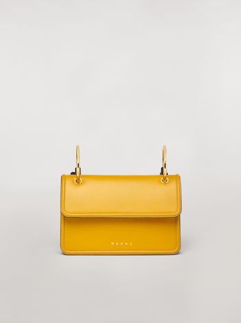 Marni NEW BEAT bag in yellow calfskin with Marni logo shoulder strap Woman f