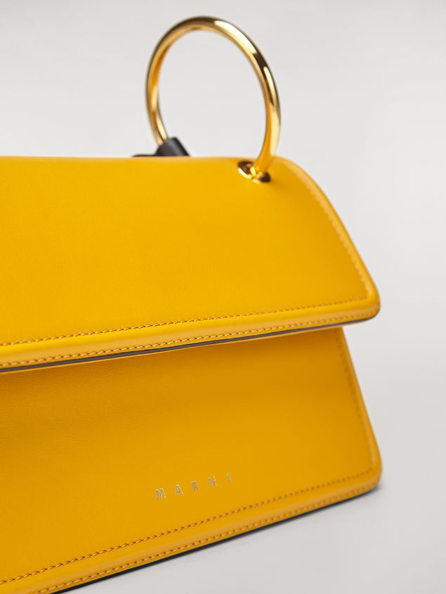 Marni NEW BEAT bag in yellow calfskin with Marni logo shoulder strap Woman - 5