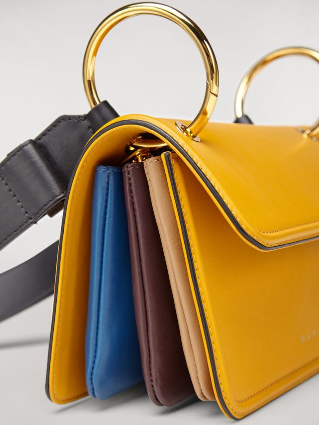 Marni NEW BEAT bag in yellow calfskin with Marni logo shoulder strap Woman - 4