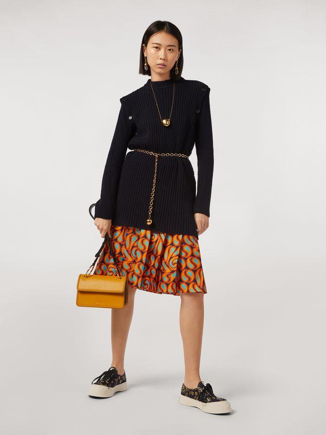 Marni NEW BEAT bag in yellow calfskin with Marni logo shoulder strap Woman - 2