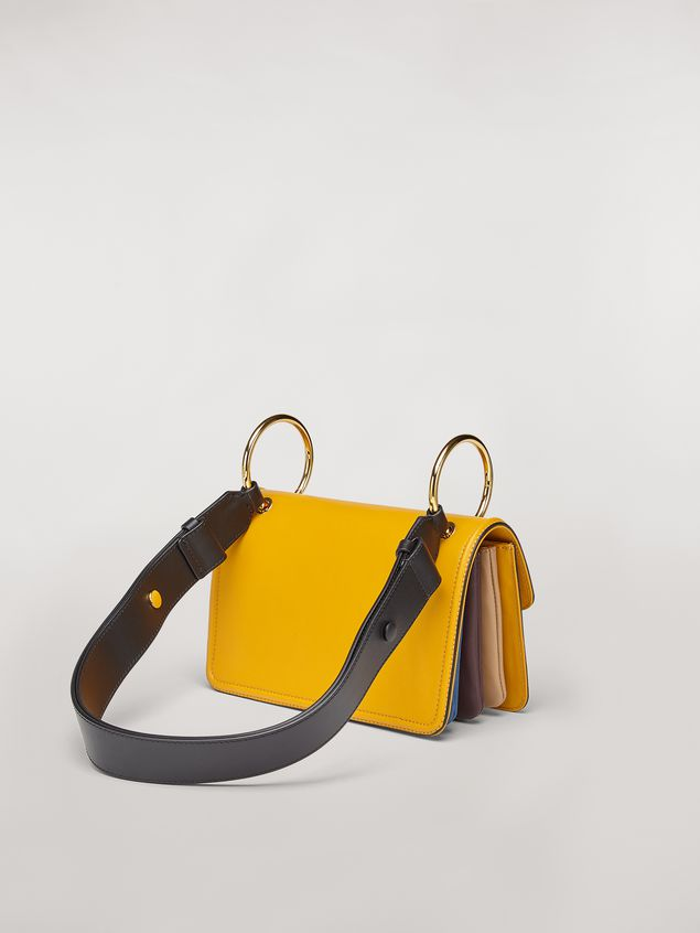 Marni NEW BEAT bag in yellow calfskin with Marni logo shoulder strap Woman - 3