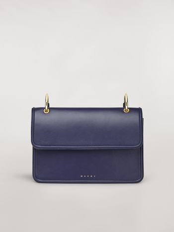 Marni NEW BEAT bag in blue calfskin with Marni logo shoulder strap Woman f