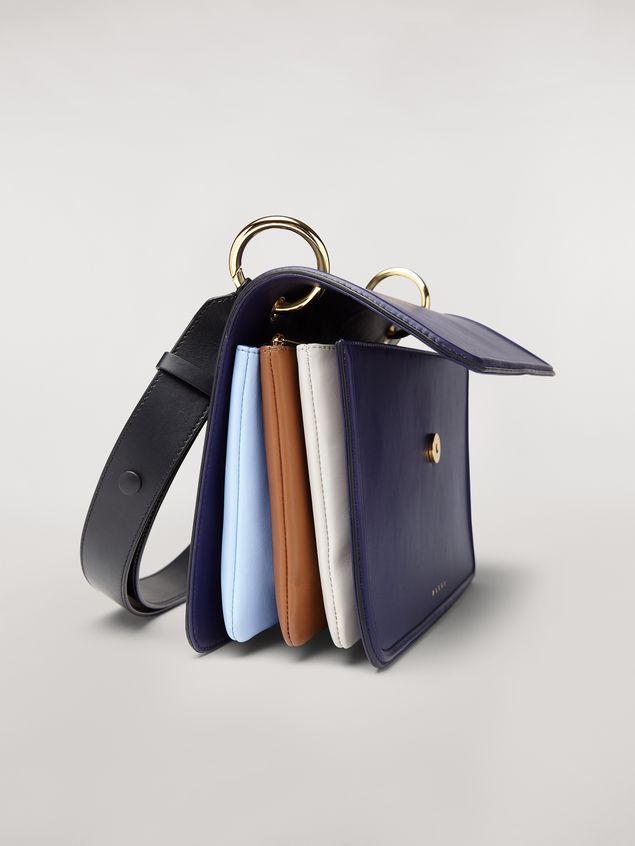 Marni NEW BEAT bag in blue calfskin with Marni logo shoulder strap Woman - 4