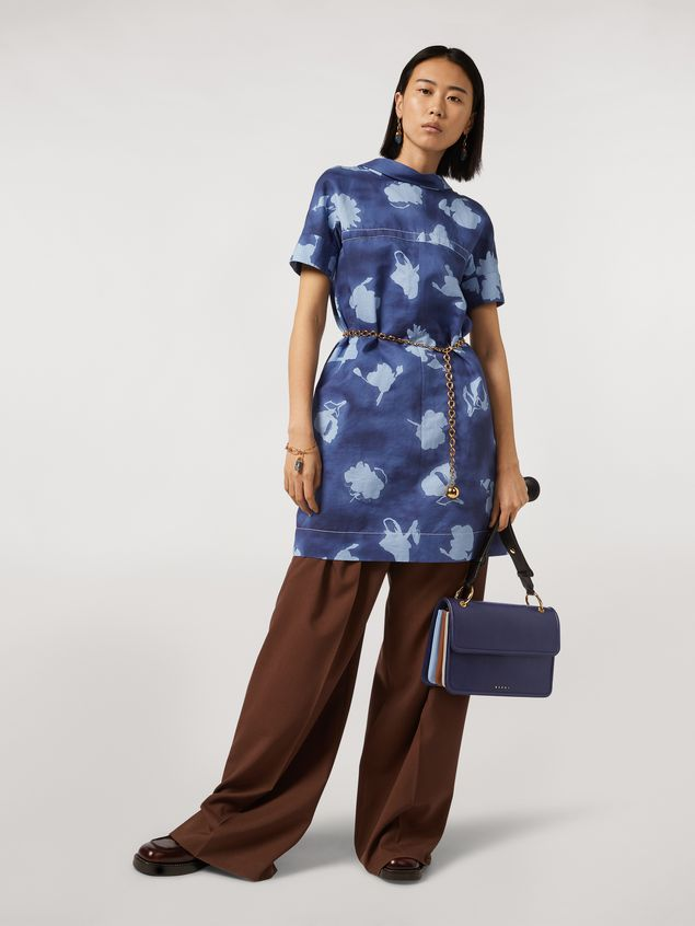 Marni NEW BEAT bag in blue calfskin with Marni logo shoulder strap Woman - 2