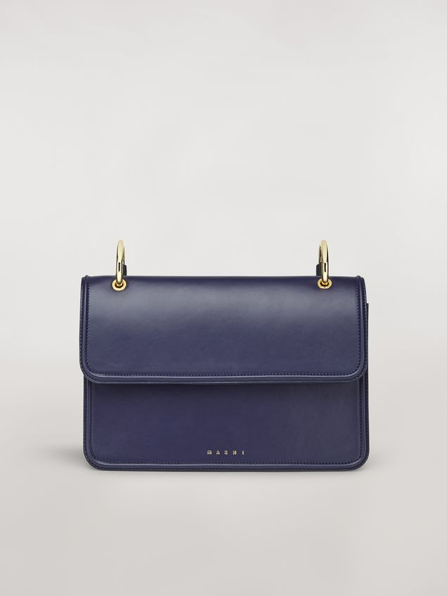 Marni NEW BEAT bag in blue calfskin with Marni logo shoulder strap Woman - 1