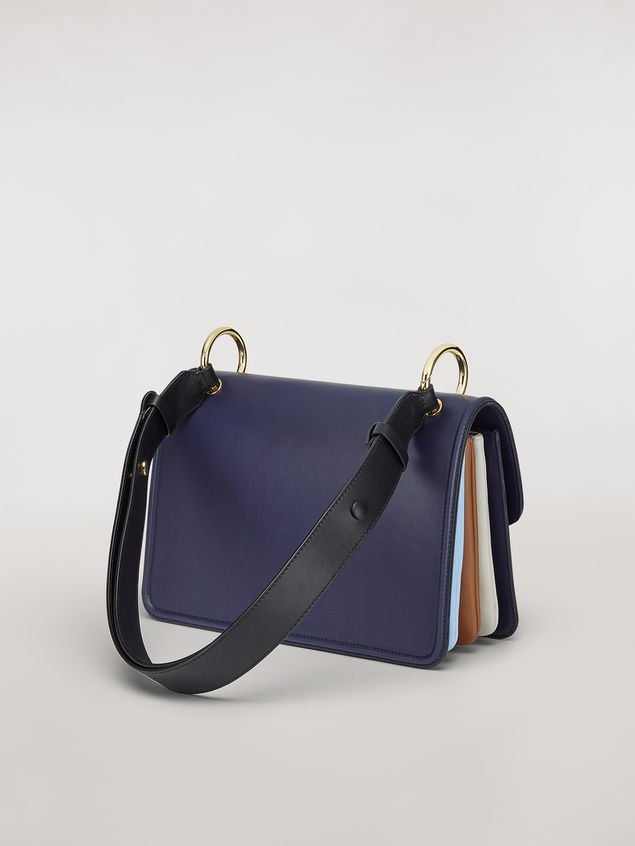 Marni NEW BEAT bag in blue calfskin with Marni logo shoulder strap Woman - 3