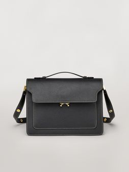Marni TRUNK bag in mono-coloured grained calfskin with handle Woman
