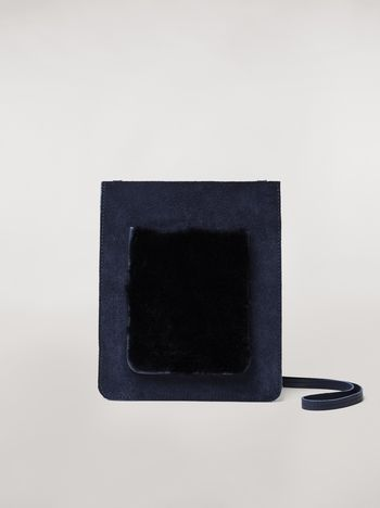 Marni Suede flat bag with shearling patch Man