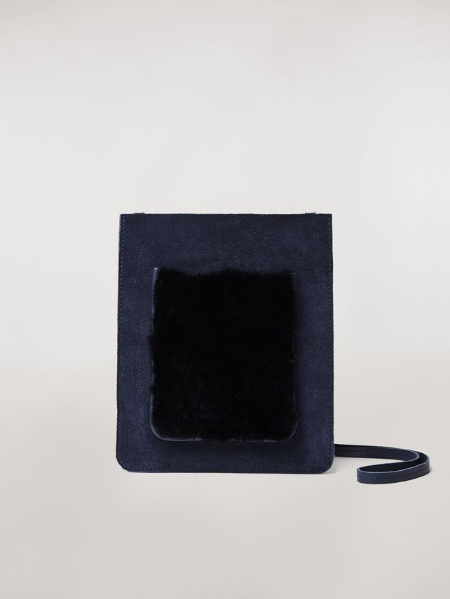 Marni Suede flat bag with shearling patch Man - 1