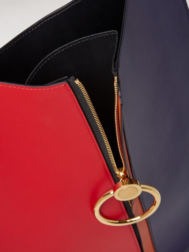 Marni EARRING bag in red and blue calfskin  Woman - 5