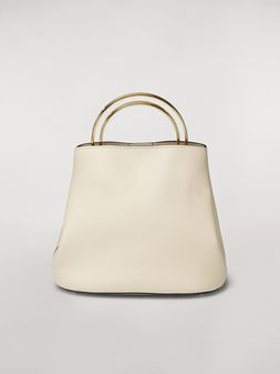 Marni PANNIER bag in white leather with double gold-tone metal handle Woman