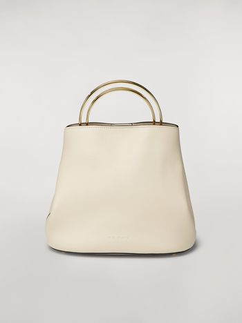 Marni PANNIER bag in white leather with double gold-tone metal handle Woman f