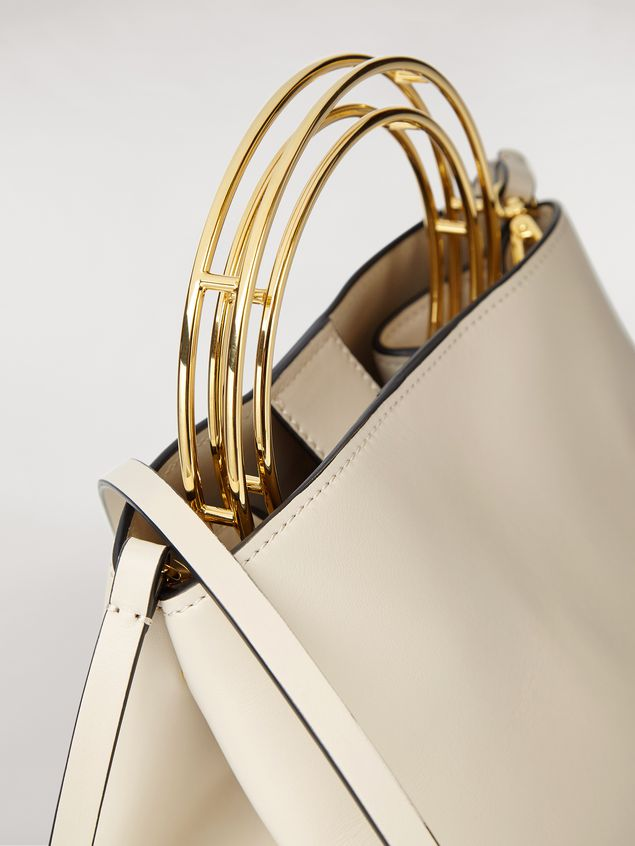 MARNI Shoulder Bag Woman PANNIER bag in white leather with double gold-tone metal handle a