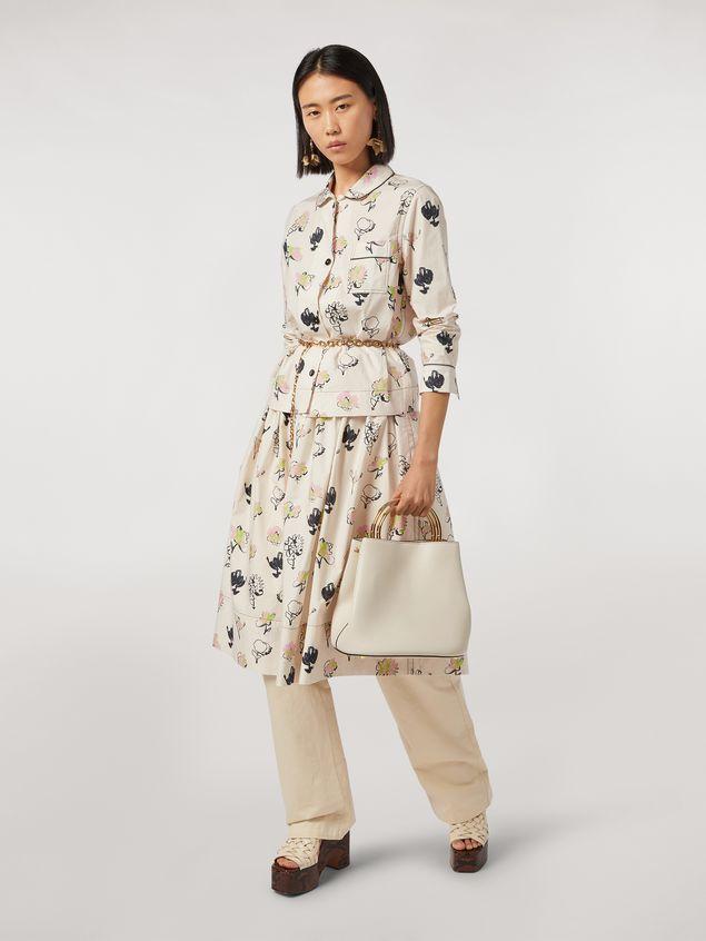 Marni Tasche PANNIER aus weißem Leder mit doppeltem, goldfarbenem Metall-Tragegriff Damen - 2