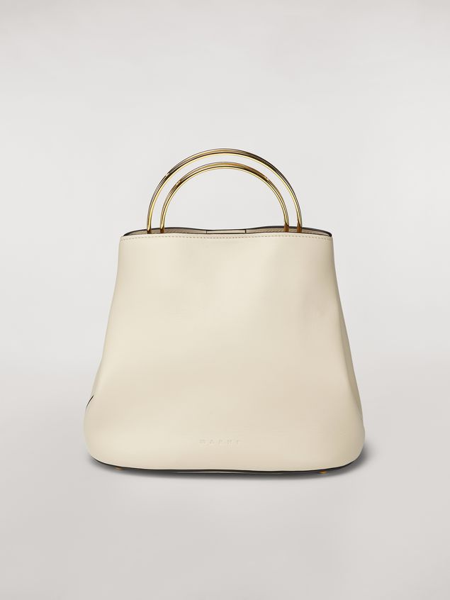 Marni PANNIER bag in white leather with double gold-tone metal handle Woman - 1
