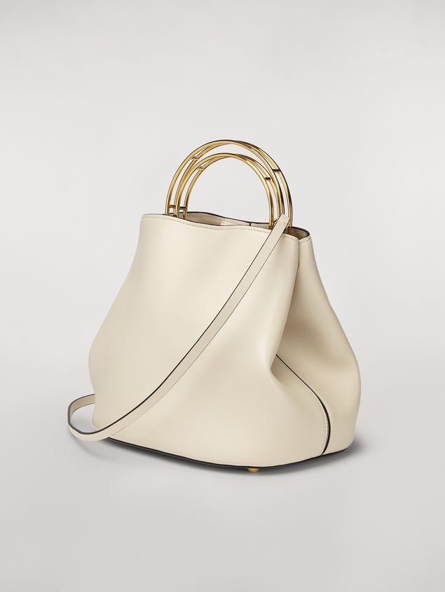 Marni PANNIER bag in white leather with double gold-tone metal handle Woman - 3