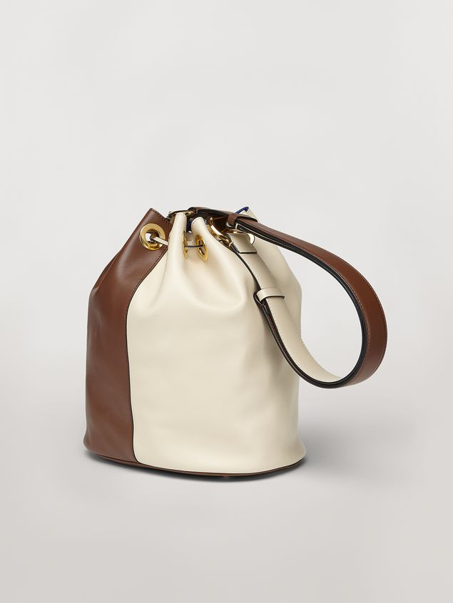 Marni EARRING bag in white and brown calfskin  Woman