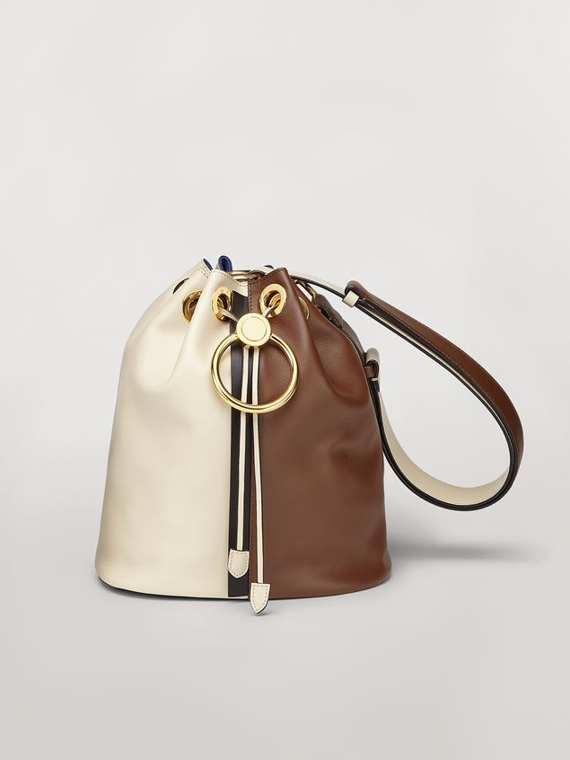 Marni EARRING bag in white and brown calfskin  Woman - 1