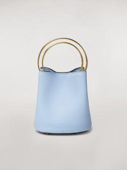 Marni Tasche PANNIER aus blassblauem Leder mit doppeltem, goldfarbenem Metall-Tragegriff Damen