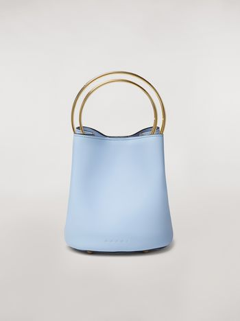 Marni PANNIER bag in pale blue leather with double gold-tone metal handle Woman f