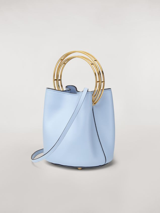 Marni PANNIER bag in pale blue leather with double gold-tone metal handle Woman