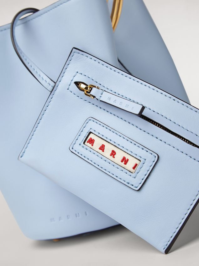 Marni PANNIER bag in pale blue leather with double gold-tone metal handle Woman - 5