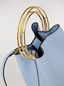 Marni PANNIER bag in pale blue leather with double gold-tone metal handle Woman - 4