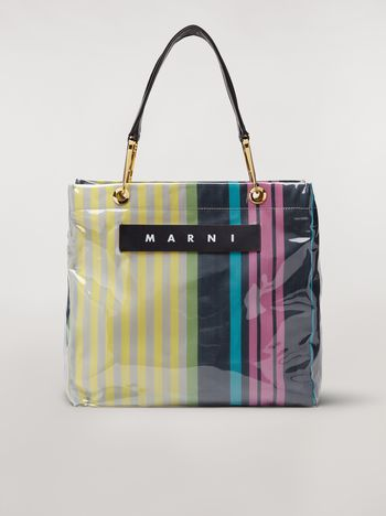 Marni GLOSSY GRIP shopper in yellow, green, gray, pink and turquoise striped polyamide Woman f