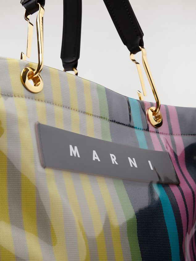 Marni GLOSSY GRIP shopping bag yellow green grey pink and turquoise Woman - 5