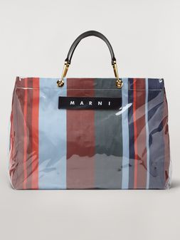 Marni GLOSSY GRIP shopper in dark blue, burgundy, light blue and red striped polyamide Woman