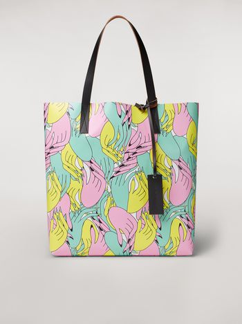 Marni SHOPPING bag in PVC print by the artist Bruno Bozzetto Woman f