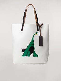 Marni Shopping bag in white with coated PVC print by artist Bruno Bozzetto  Man