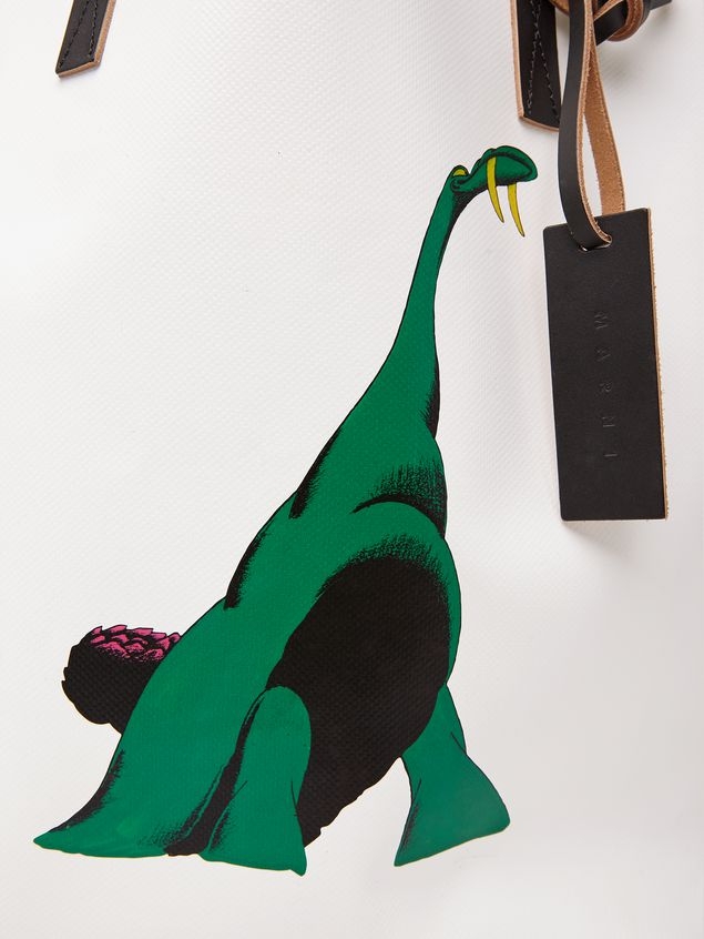 Marni Shopping bag in white with coated PVC print by artist Bruno Bozzetto  Man - 5