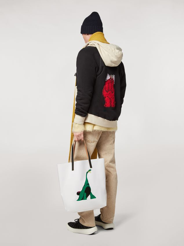 Marni Shopping bag in white with coated PVC print by artist Bruno Bozzetto  Man - 2