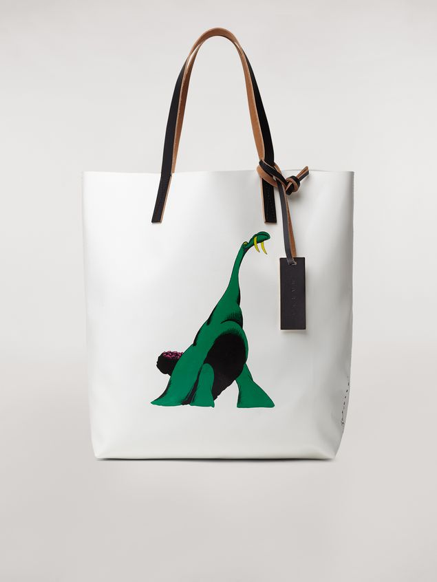 Marni Shopping bag in white with coated PVC print by artist Bruno Bozzetto  Man - 1