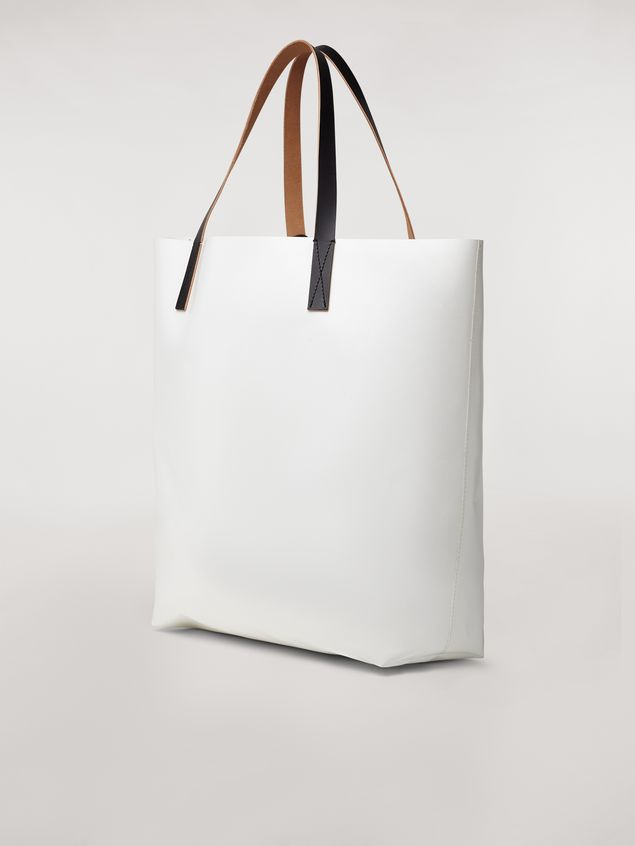 Marni Shopping bag in white with coated PVC print by artist Bruno Bozzetto  Man - 3