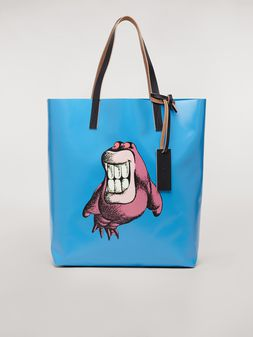 Marni Shopping bag in pale blue with coated PVC print by artist Bruno Bozzetto  Man