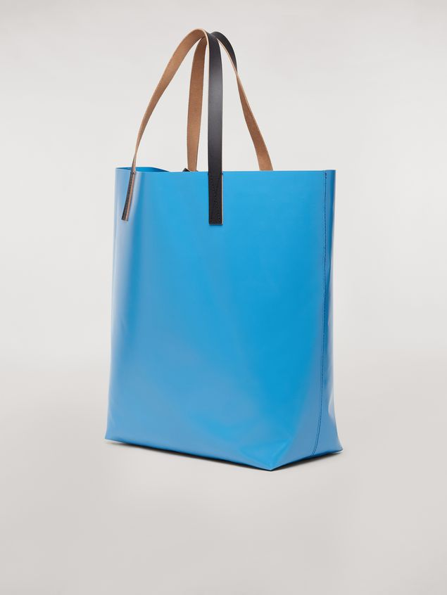 Marni Shopping bag in coated PVC print by artist Bruno Bozzetto pale blue Man